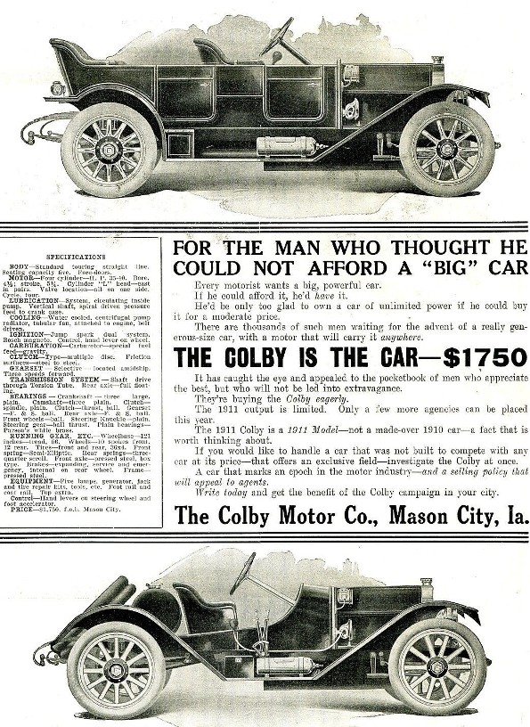 1910 Colby Motor Co advertisement small.jpg (454208 bytes)